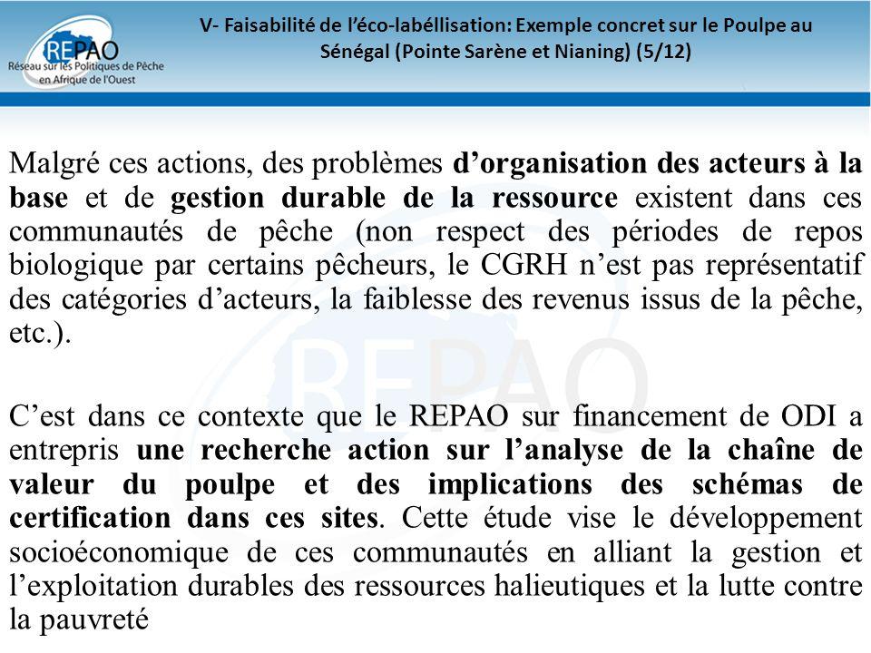 V- Faisabilité de léco-labéllisation: Exemple concret sur le Poulpe au Sénégal (Pointe Sarène et Nianing) (5/12) Malgré ces actions, des problèmes dor