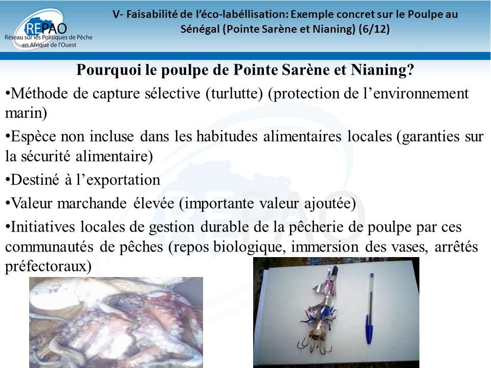 V- Faisabilité de léco-labéllisation: Exemple concret sur le Poulpe au Sénégal (Pointe Sarène et Nianing) (6/12) Pourquoi le poulpe de Pointe Sarène e