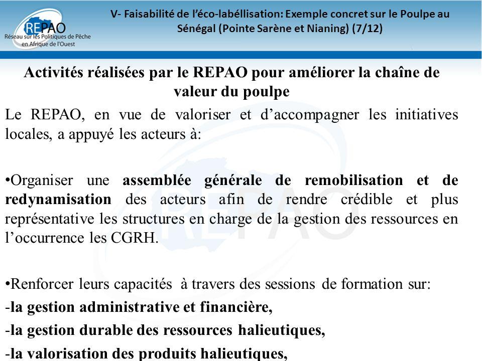 V- Faisabilité de léco-labéllisation: Exemple concret sur le Poulpe au Sénégal (Pointe Sarène et Nianing) (7/12) Activités réalisées par le REPAO pour
