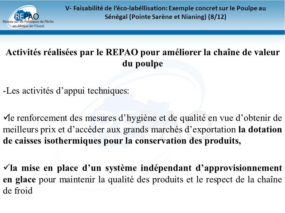 V- Faisabilité de léco-labéllisation: Exemple concret sur le Poulpe au Sénégal (Pointe Sarène et Nianing) (8/12) Activités réalisées par le REPAO pour