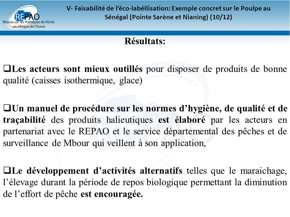 V- Faisabilité de léco-labéllisation: Exemple concret sur le Poulpe au Sénégal (Pointe Sarène et Nianing) (10/12) Résultats: Les acteurs sont mieux ou