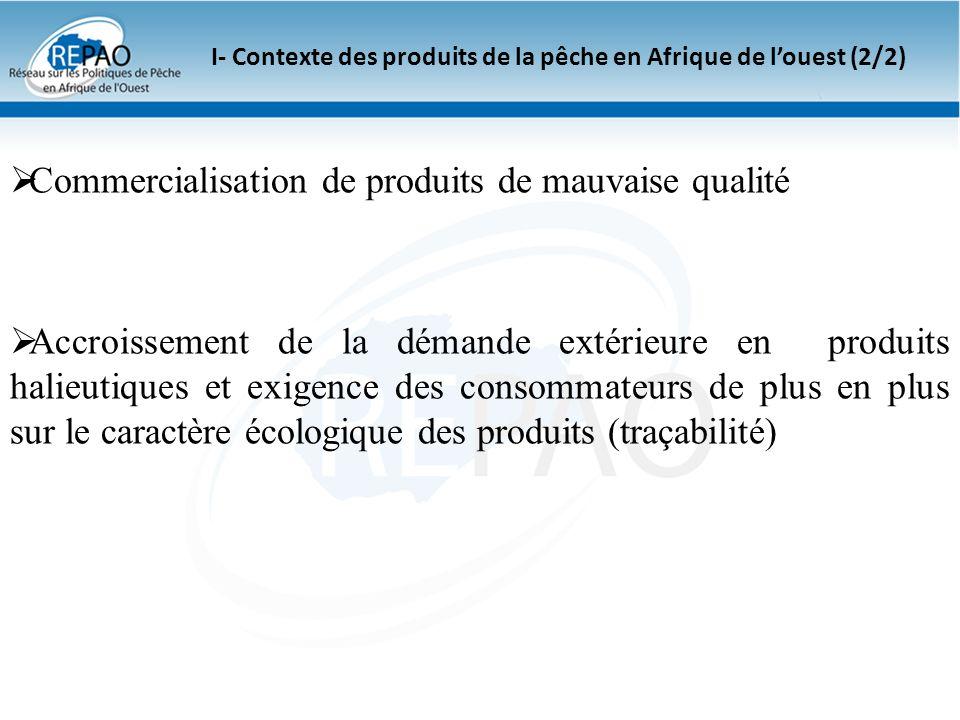 I- Contexte des produits de la pêche en Afrique de louest (2/2) Commercialisation de produits de mauvaise qualité Accroissement de la démande extérieu