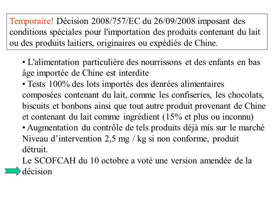 L'alimentation particulière des nourrissons et des enfants en bas âge importée de Chine est interdite Tests 100% des lots importés des denrées aliment
