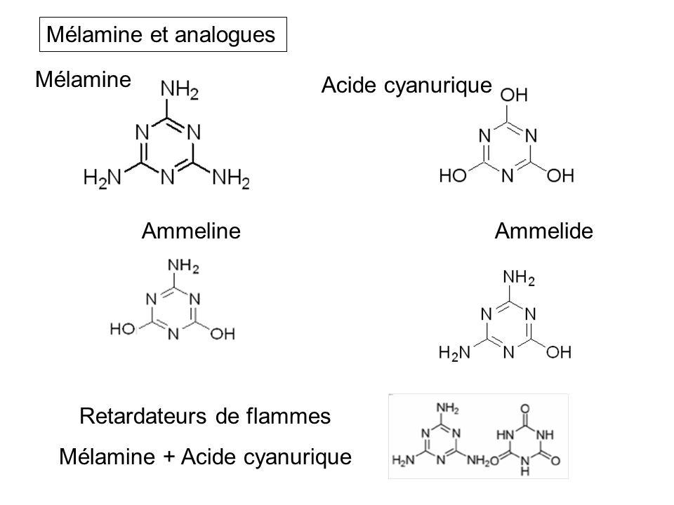 Ammelide Mélamine Acide cyanurique Ammeline Retardateurs de flammes Mélamine + Acide cyanurique Mélamine et analogues