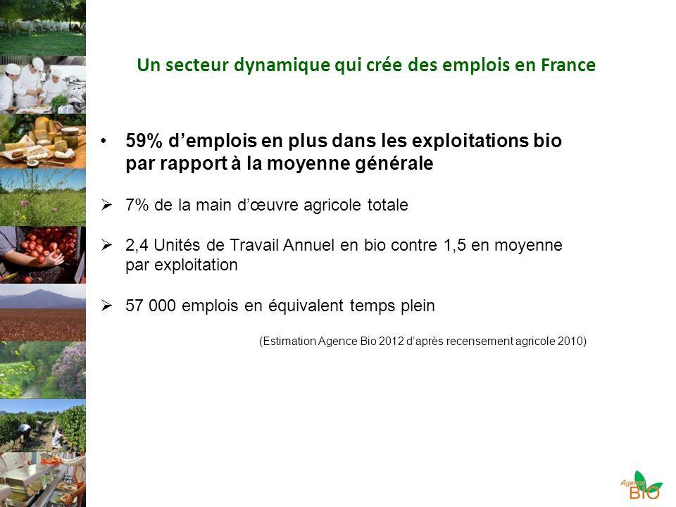 Un secteur dynamique qui crée des emplois en France 59% demplois en plus dans les exploitations bio par rapport à la moyenne générale 7% de la main dœuvre agricole totale 2,4 Unités de Travail Annuel en bio contre 1,5 en moyenne par exploitation 57 000 emplois en équivalent temps plein (Estimation Agence Bio 2012 daprès recensement agricole 2010)