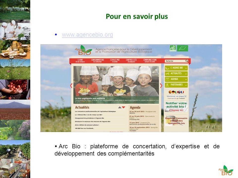 www.agencebio.org Pour en savoir plus Arc Bio : plateforme de concertation, dexpertise et de développement des complémentarités