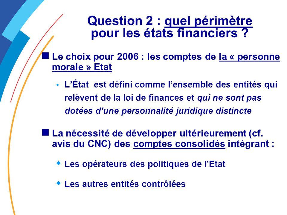 Question 2 : quel périmètre pour les états financiers .