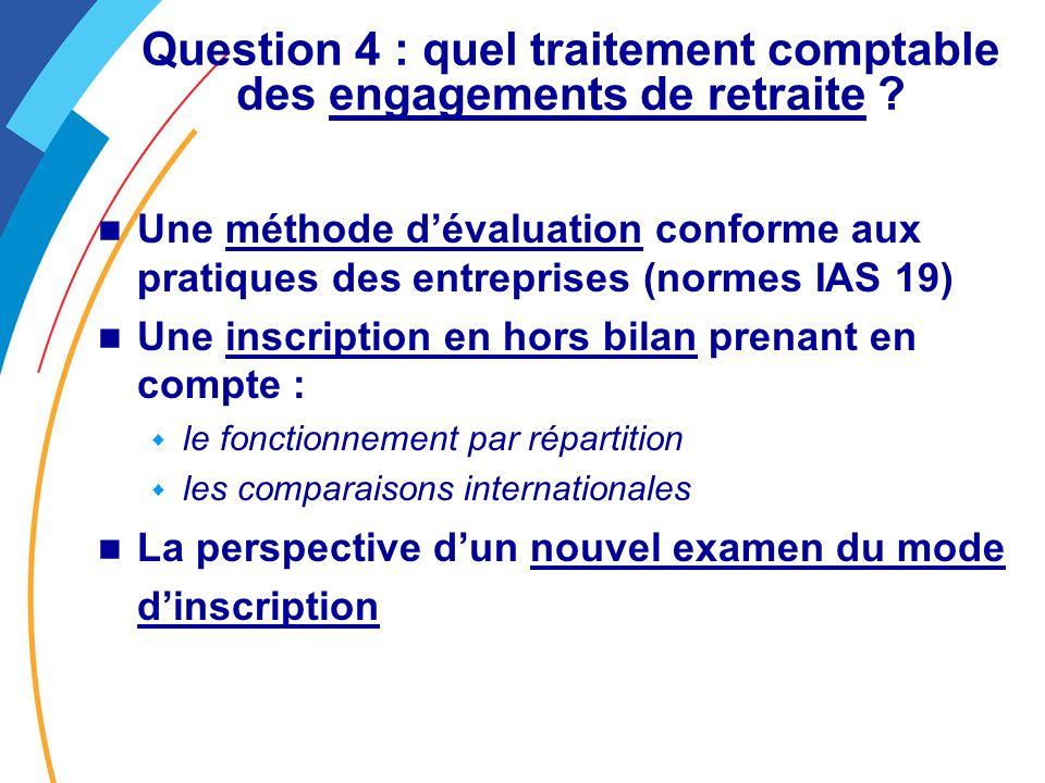 Question 4 : quel traitement comptable des engagements de retraite .