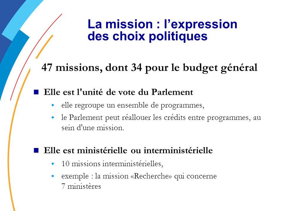 47 missions, dont 34 pour le budget général Elle est l unité de vote du Parlement w elle regroupe un ensemble de programmes, w le Parlement peut réallouer les crédits entre programmes, au sein d une mission.