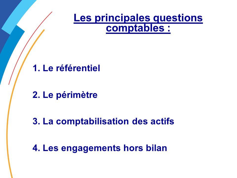 Les principales questions comptables : 1.Le référentiel 2.