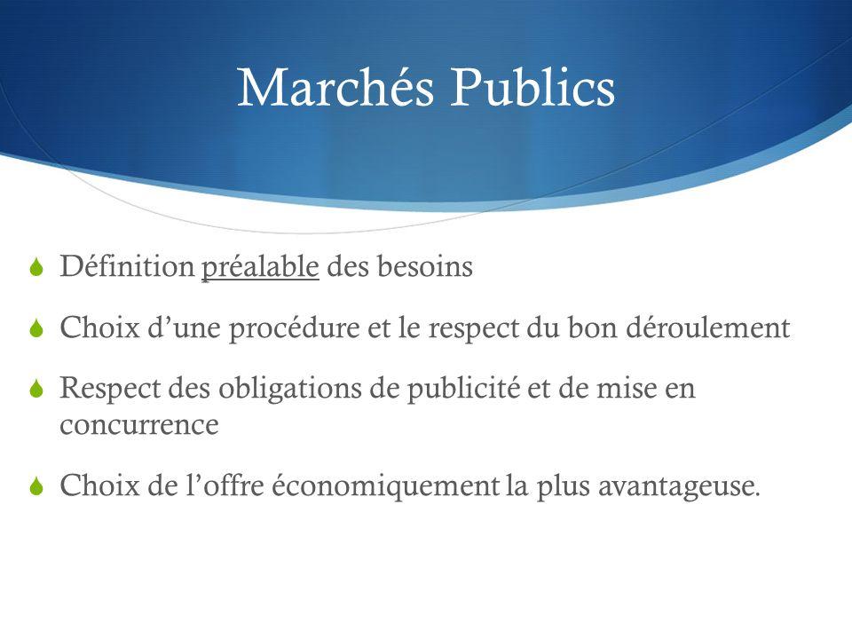 Marchés Publics Définition préalable des besoins Choix dune procédure et le respect du bon déroulement Respect des obligations de publicité et de mise