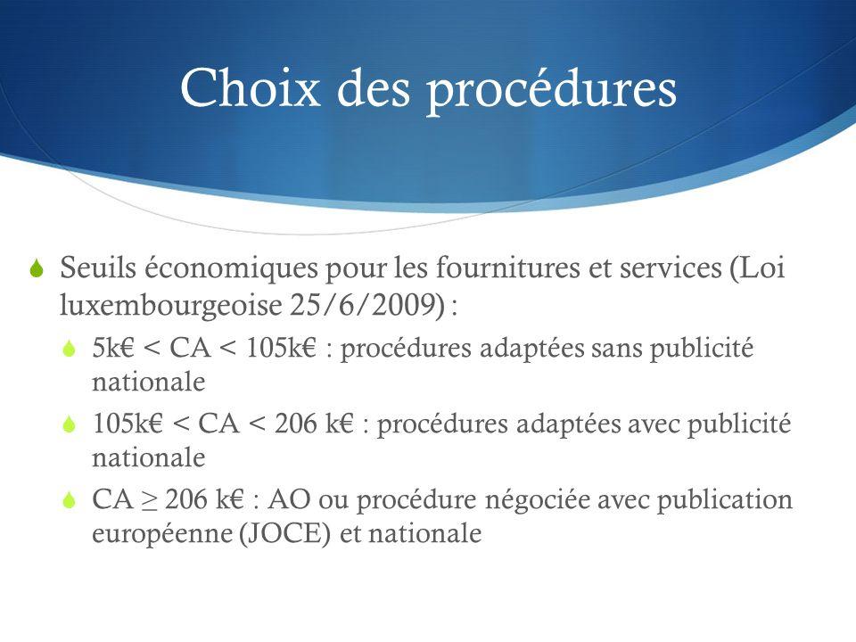 Choix des procédures Seuils économiques pour les fournitures et services (Loi luxembourgeoise 25/6/2009) : 5k < CA < 105k : procédures adaptées sans p