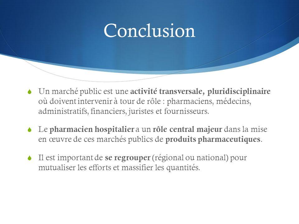 Conclusion Un marché public est une activité transversale, pluridisciplinaire où doivent intervenir à tour de rôle : pharmaciens, médecins, administra