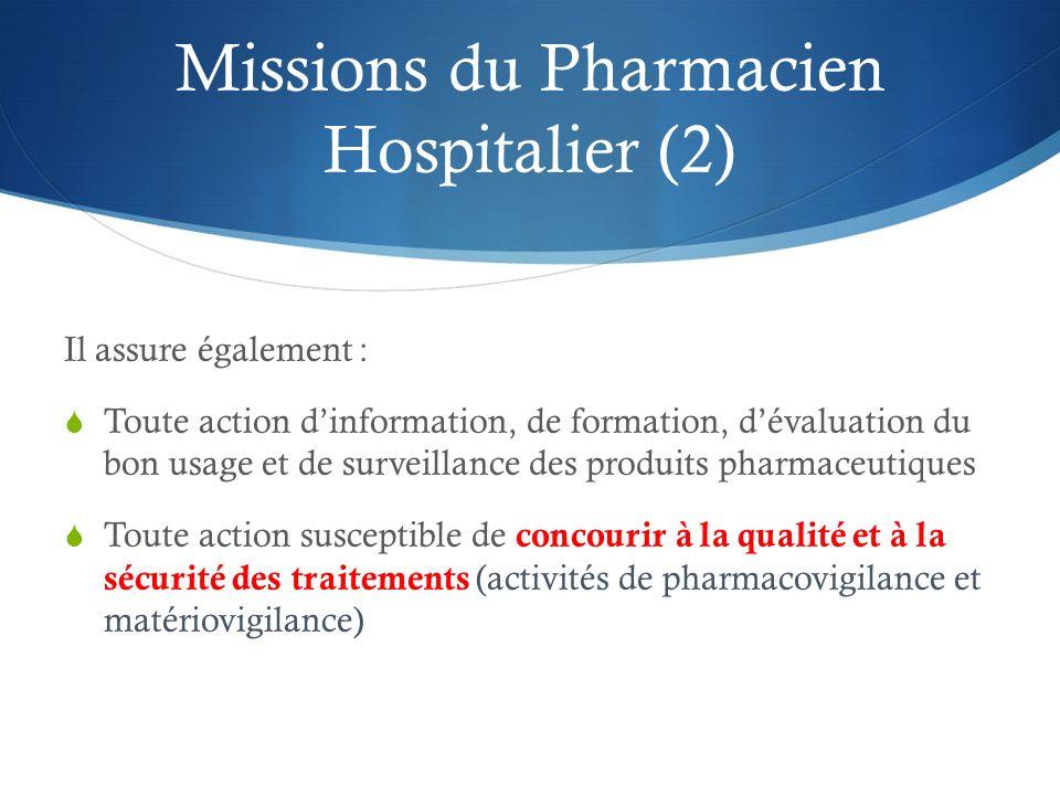 Missions du Pharmacien Hospitalier (2) Il assure également : Toute action dinformation, de formation, dévaluation du bon usage et de surveillance des
