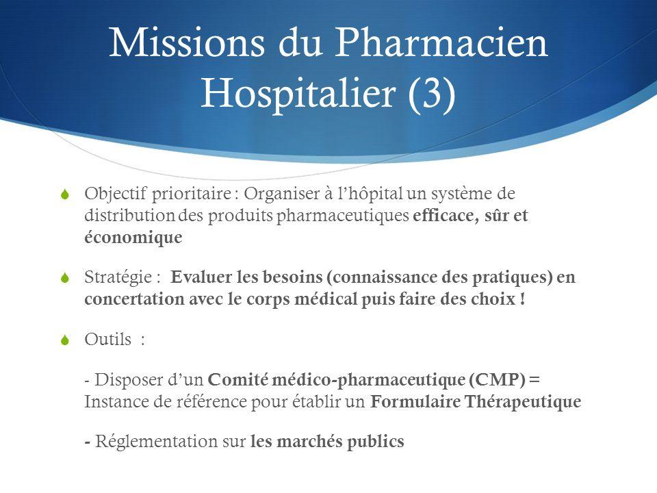 Missions du Pharmacien Hospitalier (3) Objectif prioritaire : Organiser à lhôpital un système de distribution des produits pharmaceutiques efficace, s