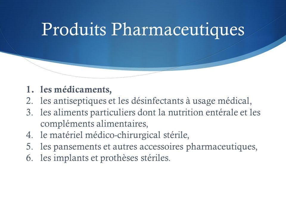 Produits Pharmaceutiques 1.les médicaments, 2.les antiseptiques et les désinfectants à usage médical, 3.les aliments particuliers dont la nutrition en