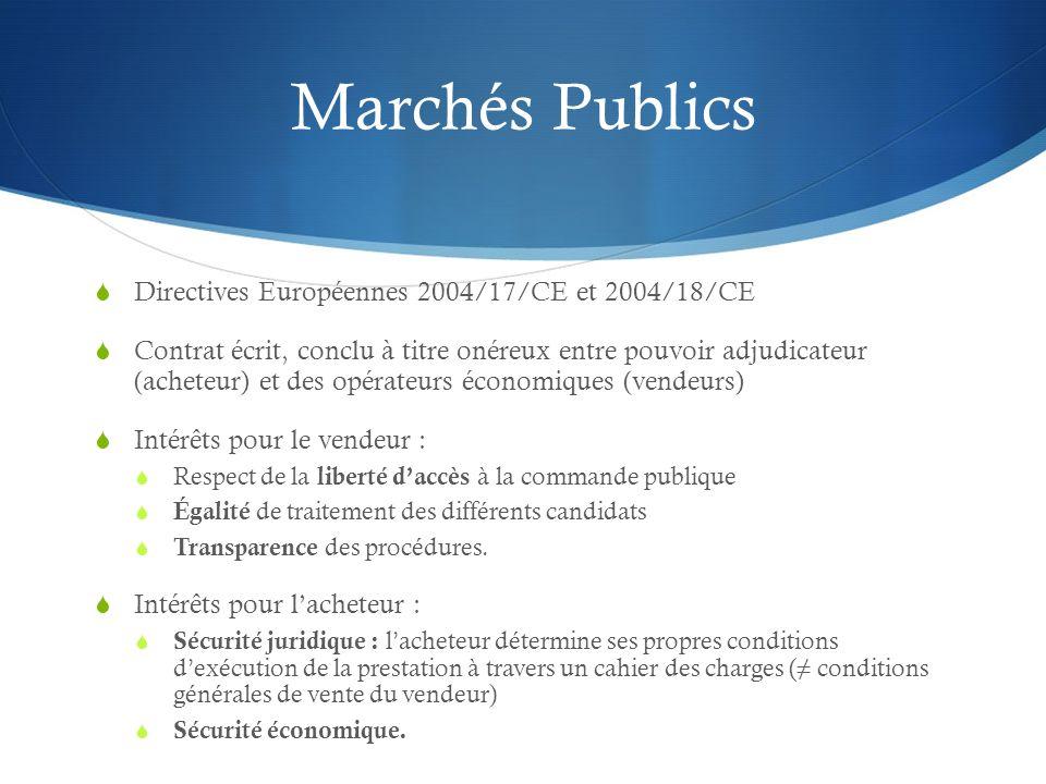 Marchés Publics Directives Européennes 2004/17/CE et 2004/18/CE Contrat écrit, conclu à titre onéreux entre pouvoir adjudicateur (acheteur) et des opé
