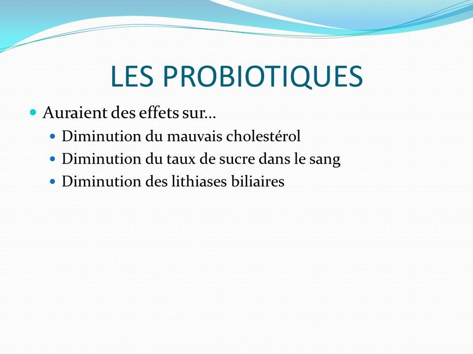 LES PROBIOTIQUES Auraient des effets sur… Diminution du mauvais cholestérol Diminution du taux de sucre dans le sang Diminution des lithiases biliaires