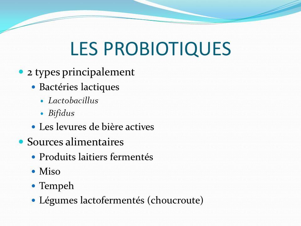 LES PROBIOTIQUES 2 types principalement Bactéries lactiques Lactobacillus Bifidus Les levures de bière actives Sources alimentaires Produits laitiers fermentés Miso Tempeh Légumes lactofermentés (choucroute)