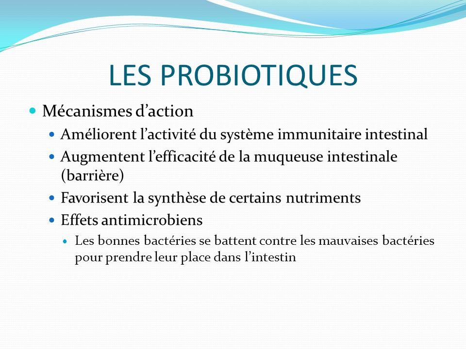 LES PROBIOTIQUES Mécanismes daction Améliorent lactivité du système immunitaire intestinal Augmentent lefficacité de la muqueuse intestinale (barrière) Favorisent la synthèse de certains nutriments Effets antimicrobiens Les bonnes bactéries se battent contre les mauvaises bactéries pour prendre leur place dans lintestin