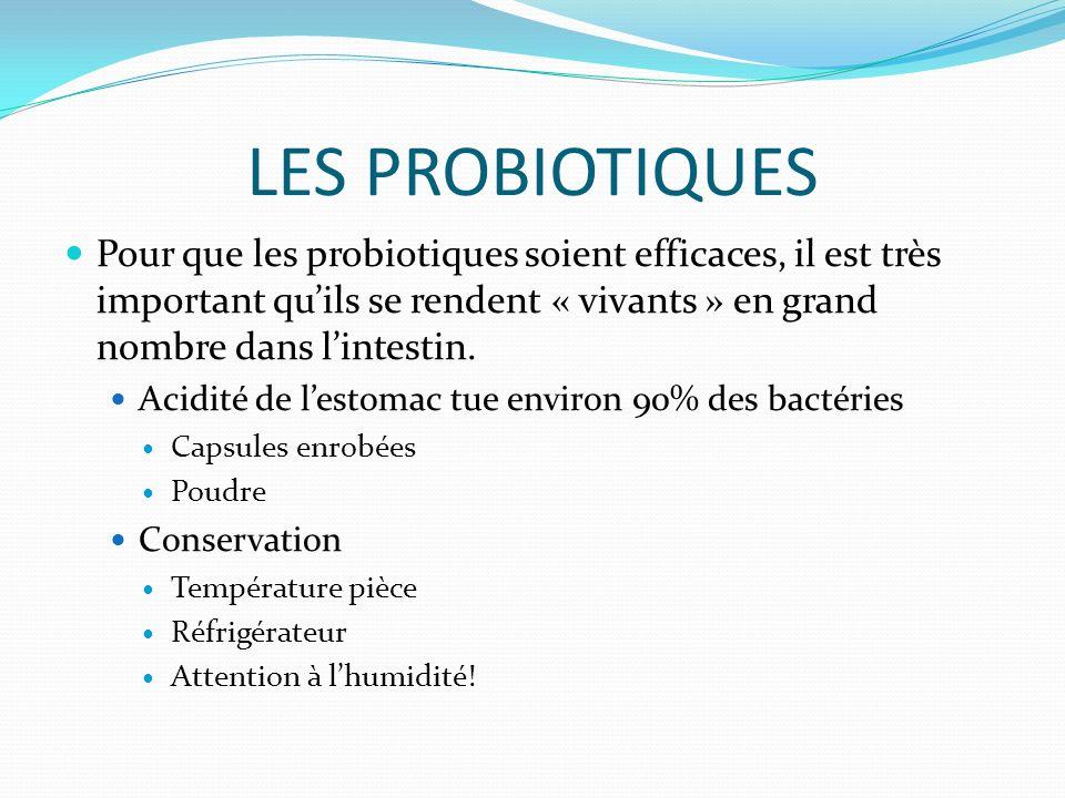 LES PROBIOTIQUES Pour que les probiotiques soient efficaces, il est très important quils se rendent « vivants » en grand nombre dans lintestin.