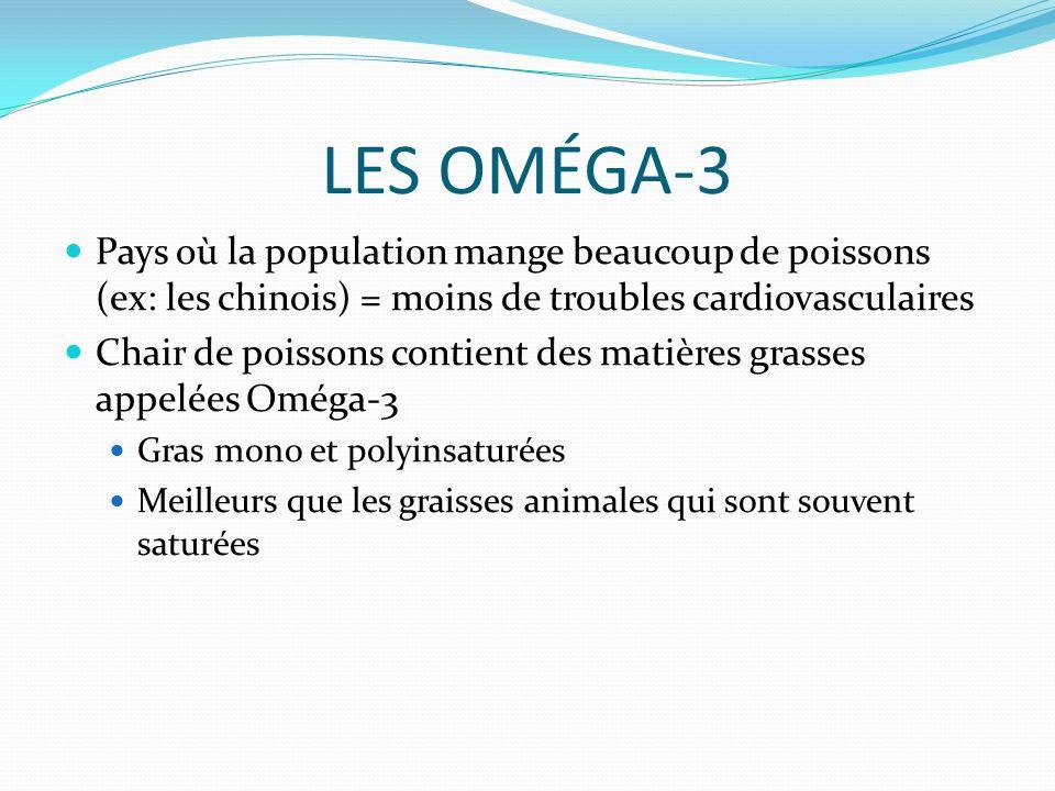 LES OMÉGA-3 Pays où la population mange beaucoup de poissons (ex: les chinois) = moins de troubles cardiovasculaires Chair de poissons contient des matières grasses appelées Oméga-3 Gras mono et polyinsaturées Meilleurs que les graisses animales qui sont souvent saturées
