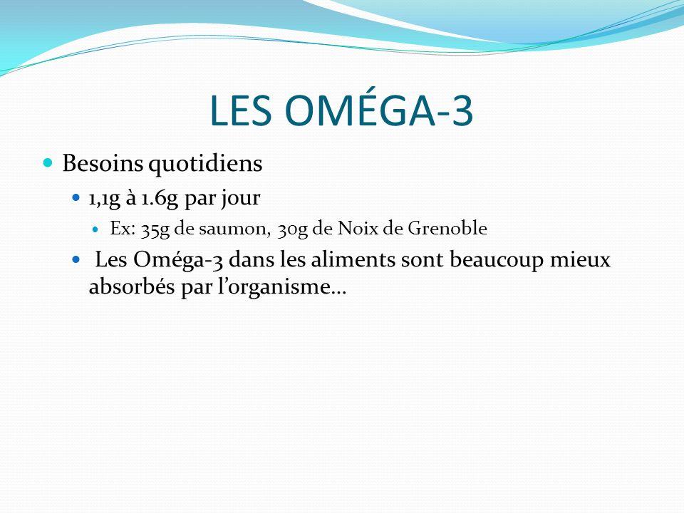LES OMÉGA-3 Besoins quotidiens 1,1g à 1.6g par jour Ex: 35g de saumon, 30g de Noix de Grenoble Les Oméga-3 dans les aliments sont beaucoup mieux absorbés par lorganisme…
