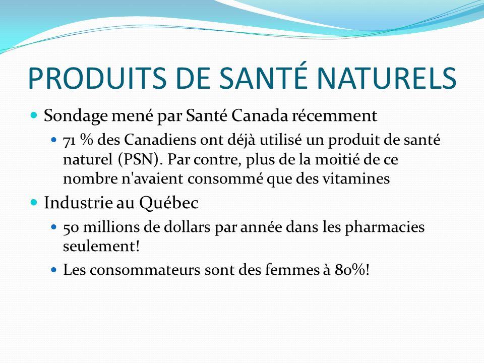 PRODUITS DE SANTÉ NATURELS Sondage mené par Santé Canada récemment 71 % des Canadiens ont déjà utilisé un produit de santé naturel (PSN).