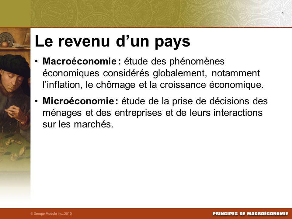 Macroéconomie : étude des phénomènes économiques considérés globalement, notamment linflation, le chômage et la croissance économique. Microéconomie :