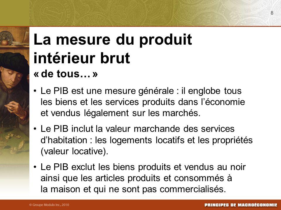 « de tous… » Le PIB est une mesure générale : il englobe tous les biens et les services produits dans léconomie et vendus légalement sur les marchés.
