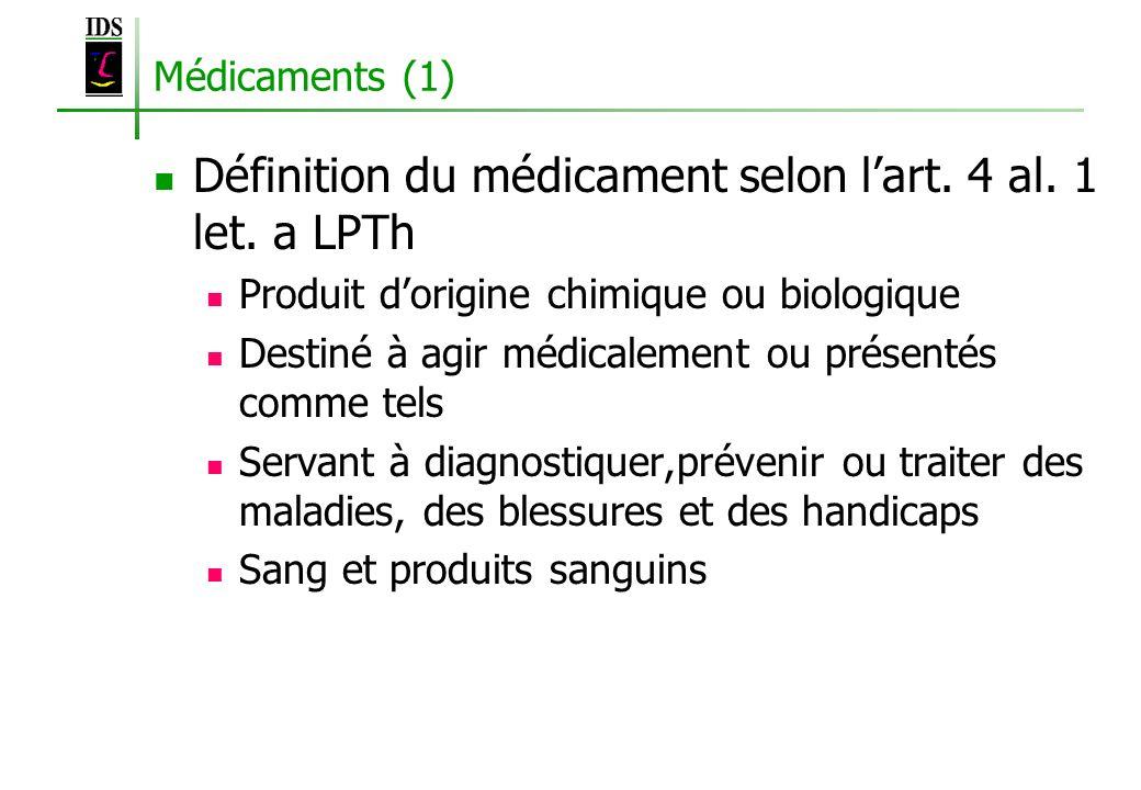 Médicaments (1) Définition du médicament selon lart. 4 al. 1 let. a LPTh Produit dorigine chimique ou biologique Destiné à agir médicalement ou présen