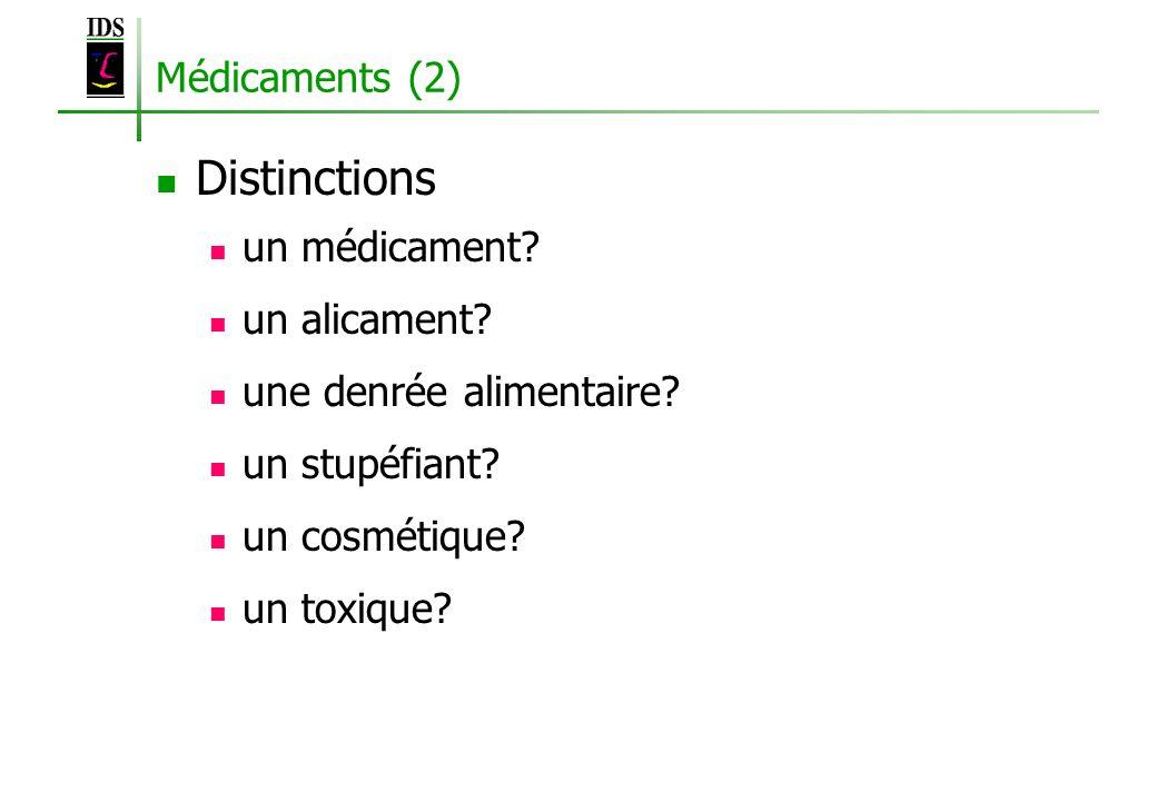 Médicaments (2) Distinctions un médicament? un alicament? une denrée alimentaire? un stupéfiant? un cosmétique? un toxique?