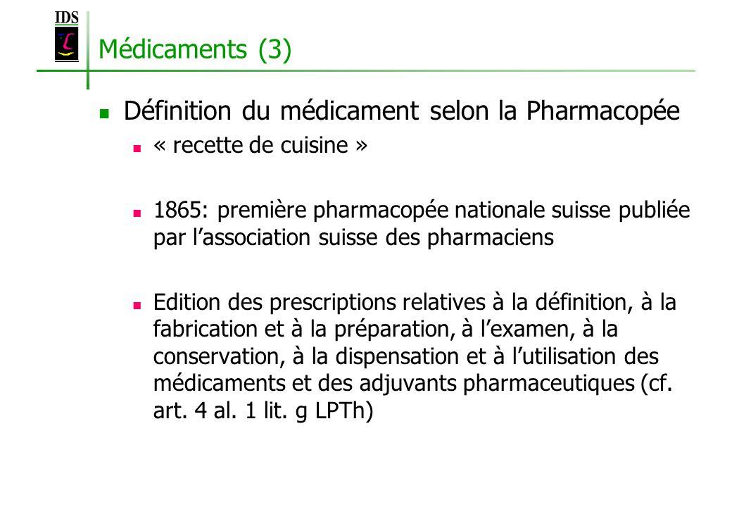Médicaments (3) Définition du médicament selon la Pharmacopée « recette de cuisine » 1865: première pharmacopée nationale suisse publiée par lassociat