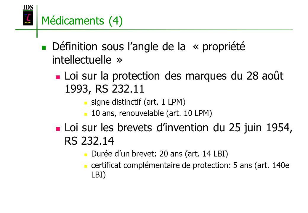 Médicaments (4) Définition sous langle de la « propriété intellectuelle » Loi sur la protection des marques du 28 août 1993, RS 232.11 signe distincti