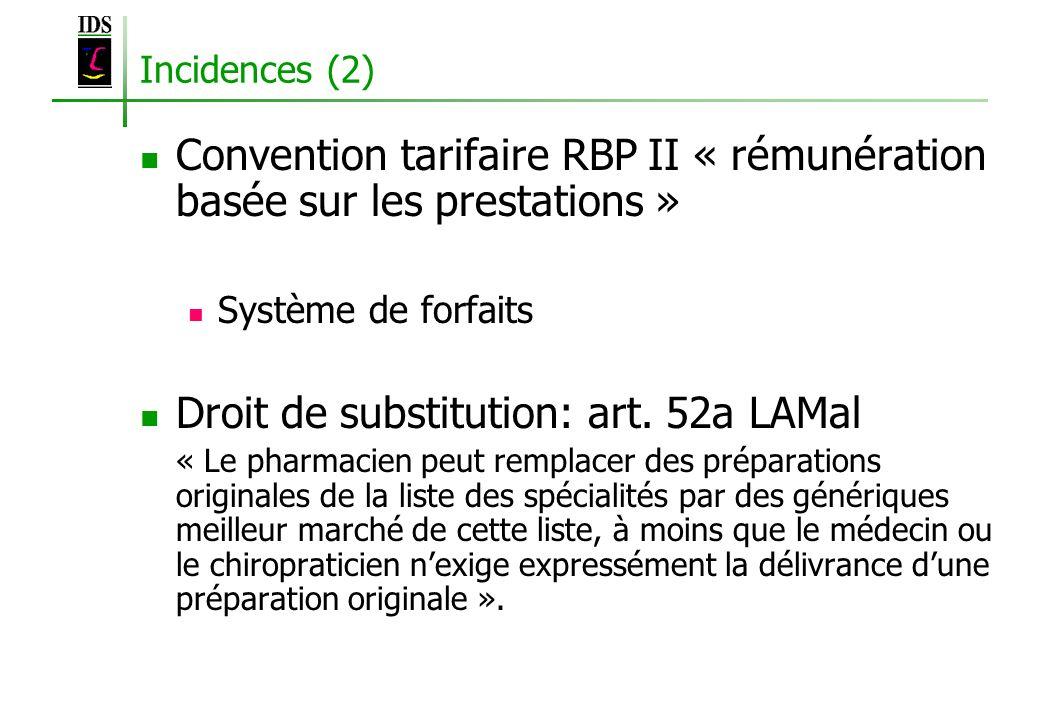 Incidences (2) Convention tarifaire RBP II « rémunération basée sur les prestations » Système de forfaits Droit de substitution: art. 52a LAMal « Le p