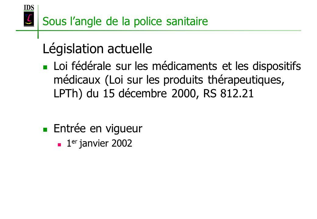 Sous langle de la police sanitaire Législation actuelle Loi fédérale sur les médicaments et les dispositifs médicaux (Loi sur les produits thérapeutiq