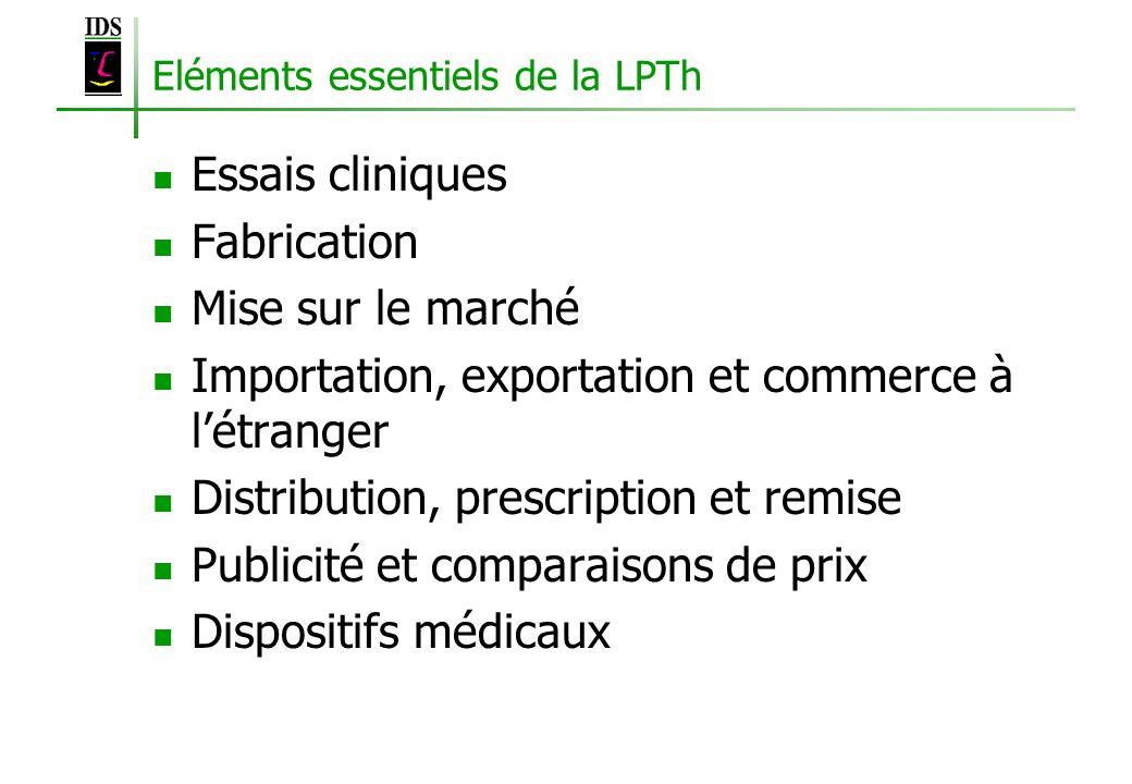 Eléments essentiels de la LPTh Essais cliniques Fabrication Mise sur le marché Importation, exportation et commerce à létranger Distribution, prescrip