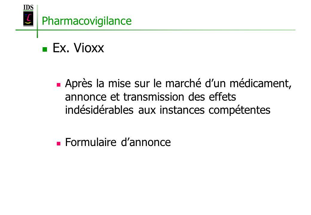 Pharmacovigilance Ex. Vioxx Après la mise sur le marché dun médicament, annonce et transmission des effets indésidérables aux instances compétentes Fo