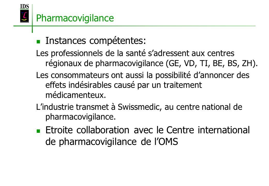 Pharmacovigilance Instances compétentes: Les professionnels de la santé sadressent aux centres régionaux de pharmacovigilance (GE, VD, TI, BE, BS, ZH)