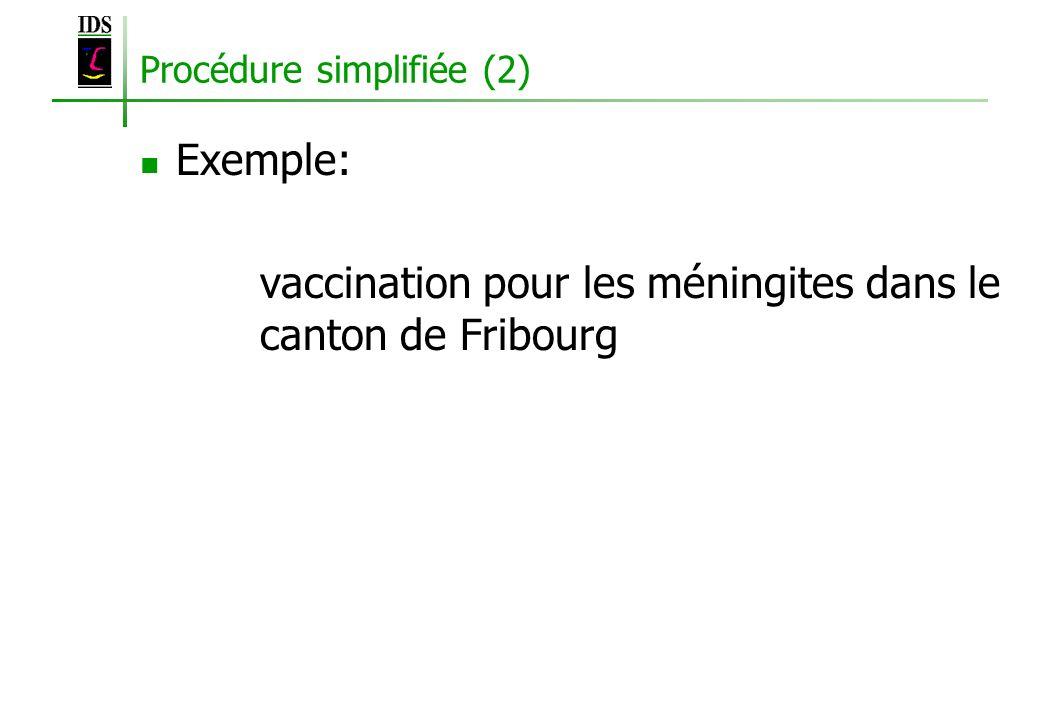 Procédure simplifiée (2) Exemple: vaccination pour les méningites dans le canton de Fribourg