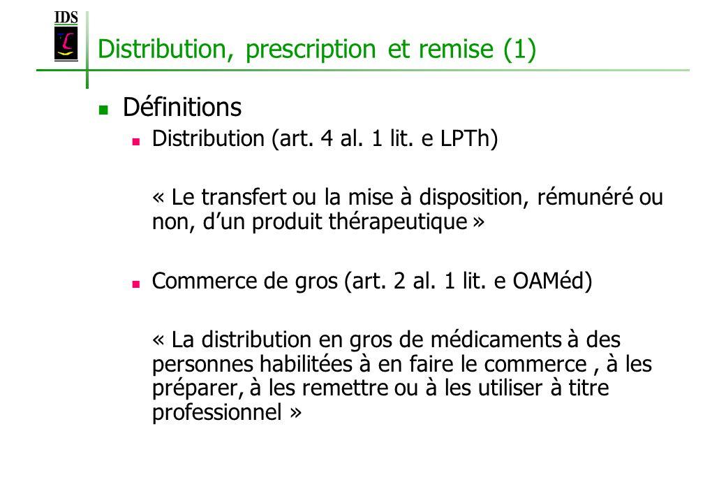 Distribution, prescription et remise (1) Définitions Distribution (art. 4 al. 1 lit. e LPTh) « Le transfert ou la mise à disposition, rémunéré ou non,