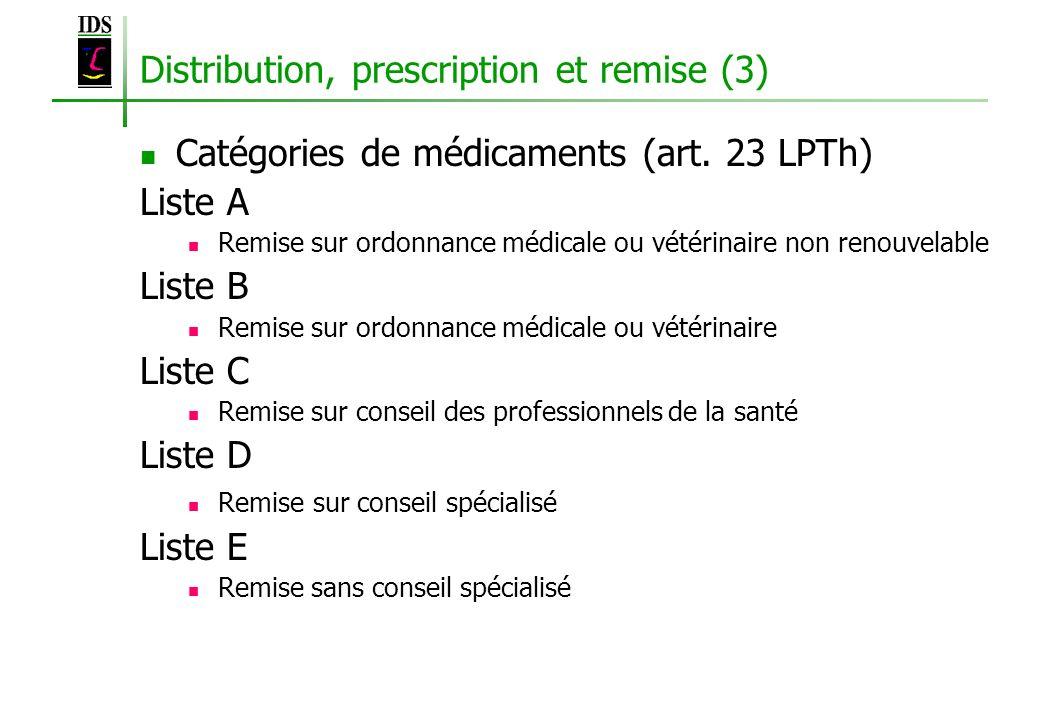 Distribution, prescription et remise (3) Catégories de médicaments (art. 23 LPTh) Liste A Remise sur ordonnance médicale ou vétérinaire non renouvelab