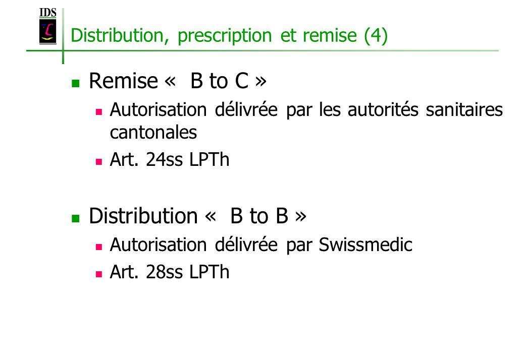 Distribution, prescription et remise (4) Remise « B to C » Autorisation délivrée par les autorités sanitaires cantonales Art. 24ss LPTh Distribution «