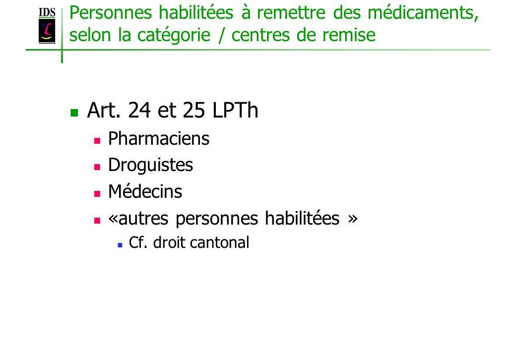 Personnes habilitées à remettre des médicaments, selon la catégorie / centres de remise Art. 24 et 25 LPTh Pharmaciens Droguistes Médecins «autres per
