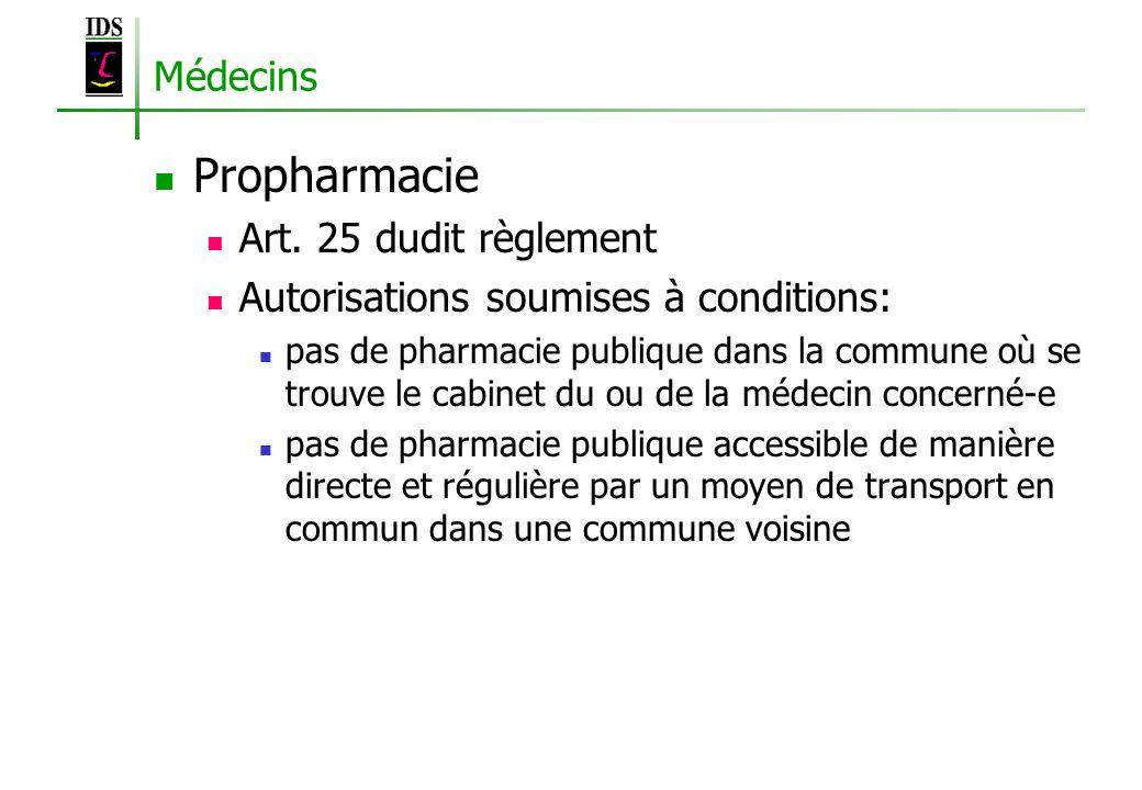 Médecins Propharmacie Art. 25 dudit règlement Autorisations soumises à conditions: pas de pharmacie publique dans la commune où se trouve le cabinet d