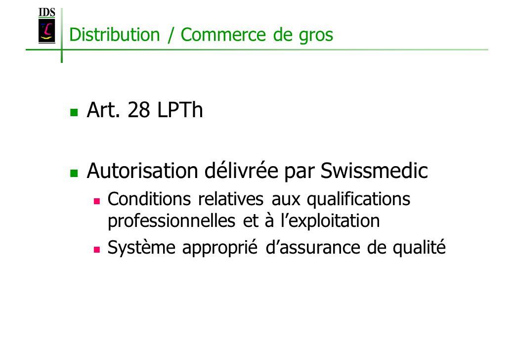 Distribution / Commerce de gros Art. 28 LPTh Autorisation délivrée par Swissmedic Conditions relatives aux qualifications professionnelles et à lexplo