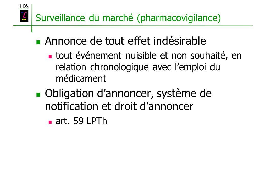 Surveillance du marché (pharmacovigilance) Annonce de tout effet indésirable tout événement nuisible et non souhaité, en relation chronologique avec l