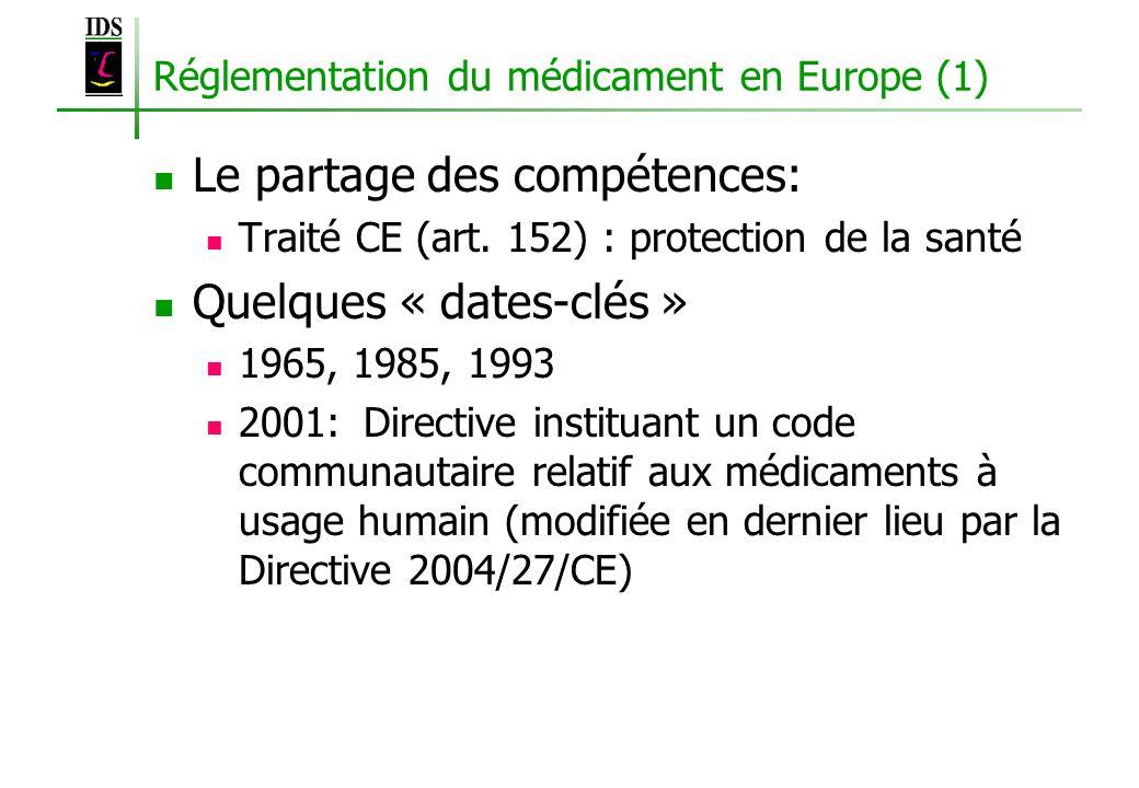 Réglementation du médicament en Europe (1) Le partage des compétences: Traité CE (art. 152) : protection de la santé Quelques « dates-clés » 1965, 198