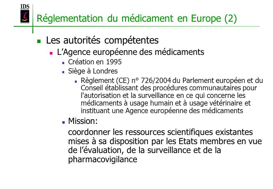 Réglementation du médicament en Europe (2) Les autorités compétentes LAgence européenne des médicaments Création en 1995 Siège à Londres Règlement (CE