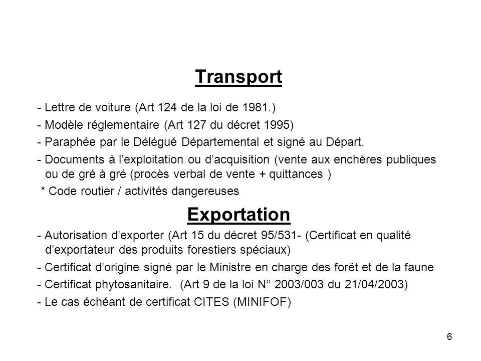 6 Transport - Lettre de voiture (Art 124 de la loi de 1981.) - Modèle réglementaire (Art 127 du décret 1995) - Paraphée par le Délégué Départemental et signé au Départ.